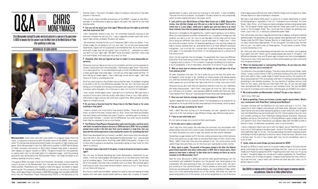 Q & A with Chris Moneymaker (Cigar Snob - May/June 2019)